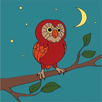 vector cartoon night owl on blue background - vector gratuit(e) #127240