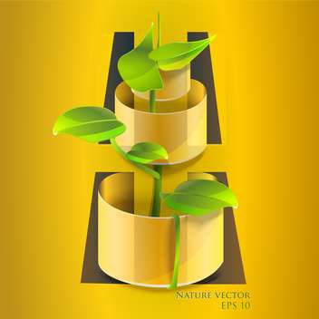 Vector illustration of green flower in pot - Free vector #127250