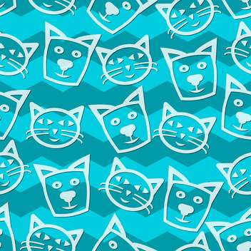 Seamless cats blue background vector illustration - Free vector #127300