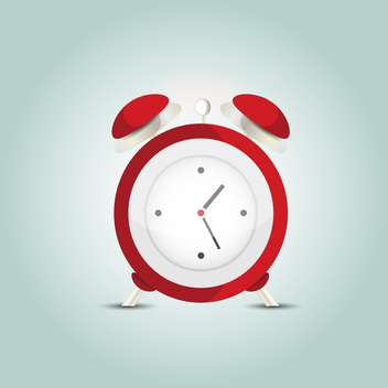 Vector illustration of red alarm clock on blue background - vector gratuit #127320