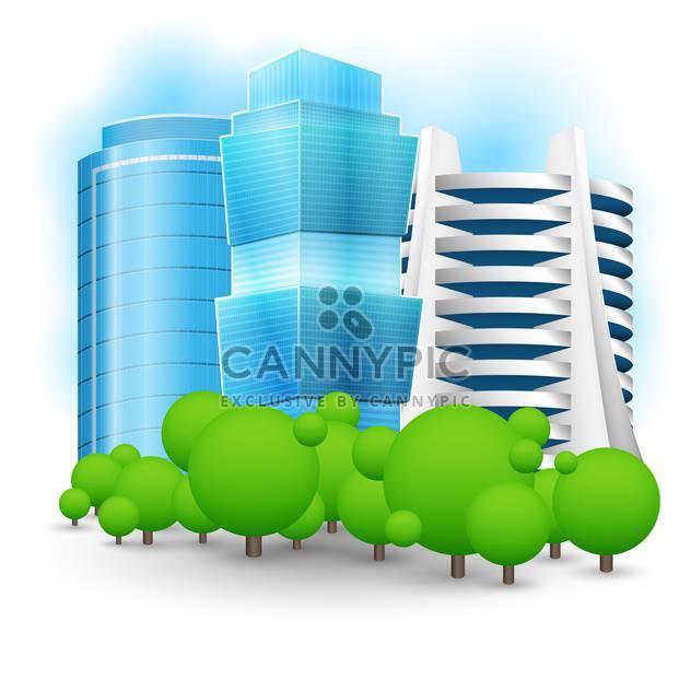 Vektor-Illustration grüner Landschaft mit Wolkenkratzer - Kostenloses vector #127390