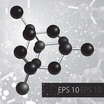 abstract background with black molecules on grey background - Free vector #127420