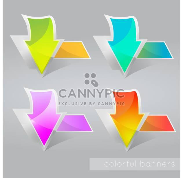vector illustration of abstract colored banners with arrows - Free vector #127430