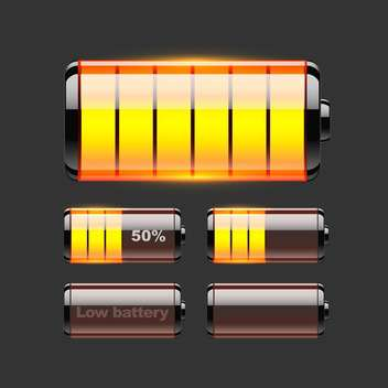 Vector set of battery charge on black background - vector gratuit(e) #127540