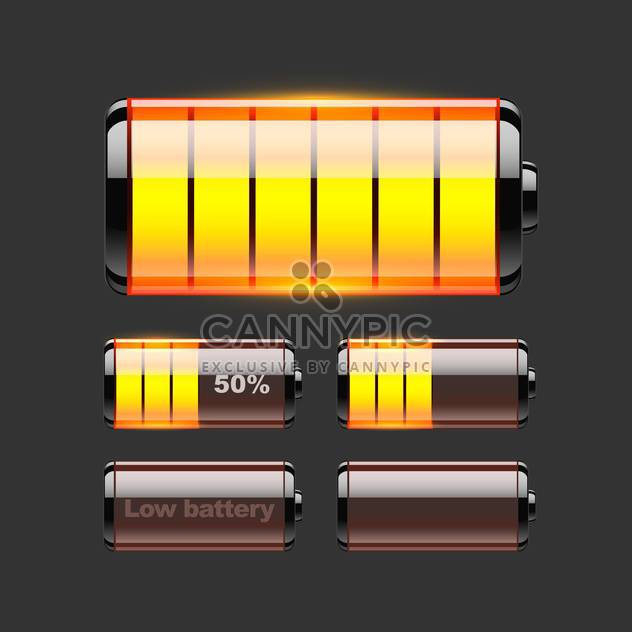 Vector set of battery charge on black background - Free vector #127540
