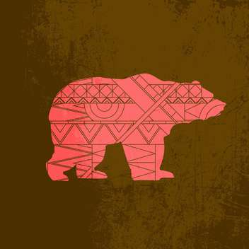 Silhouette of bear animal with red pattern on brown background - vector gratuit(e) #127570