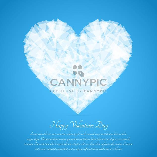 Glass broken heart on blue background for valentine card - Free vector #127610