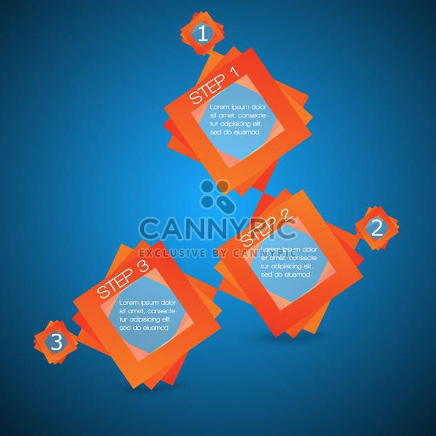 Vector banners with three steps on blue background - Free vector #127640