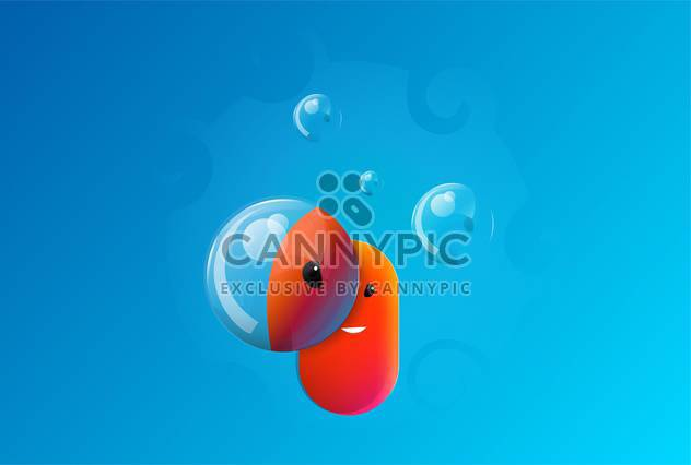 Cute face with bubbles on blue background - Free vector #127730
