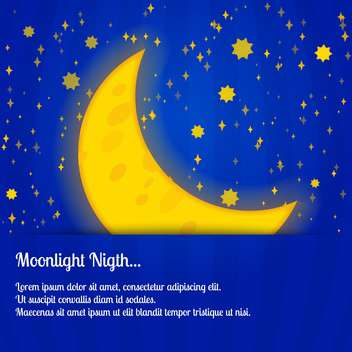 colorful illustration of big yellow moon on blue night sky - vector gratuit #127750