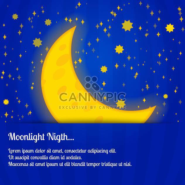 colorful illustration of big yellow moon on blue night sky - Free vector #127750