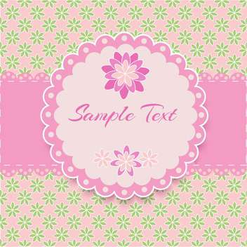 floral pink frame with text place - vector #127820 gratis