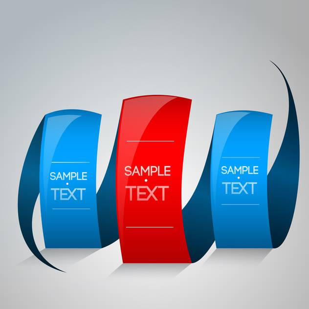 red and blue ribbons with text place on grey background - бесплатный vector #127920