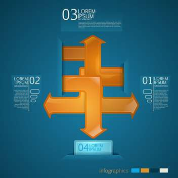 conceptual model with orange arrows on blue background - Free vector #127930