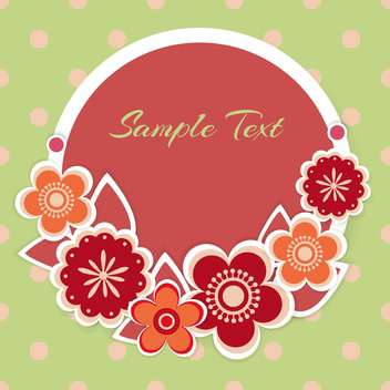 Vector floral background with round shaped text place on green background - Free vector #127940