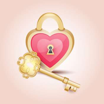 gold key to heart on pink background - vector #128030 gratis