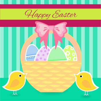 colorful illustration of basket full of colorful decorated easter eggs - бесплатный vector #128080