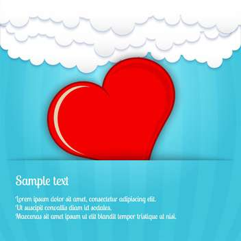 holiday background with red heart in blue clouds - vector gratuit #128100