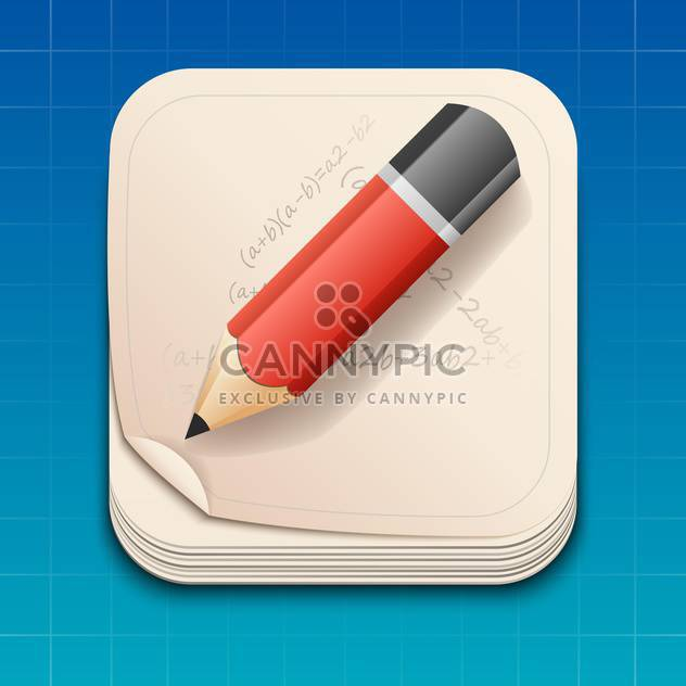 Vector icon of pencil on paper - Free vector #128180