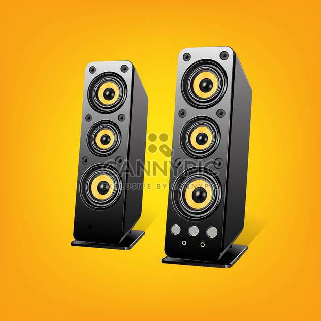 Loudspeakers vector Illustration, on yellow background - Free vector #128190