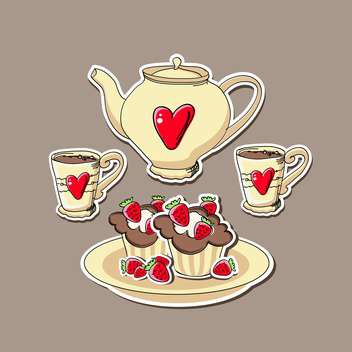 Vector background with cupcakes and teapots. - Free vector #128220