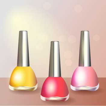 Set with colored nail polish, vector icons - Free vector #128240