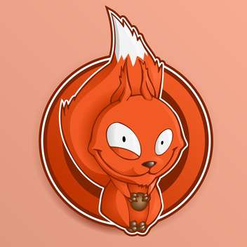 Red cartoon squirrel holding nuts - vector gratuit #128270