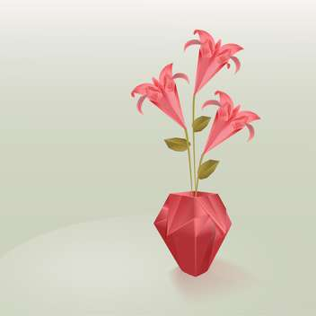 Vector Lily flowers in vase - vector gratuit #128300
