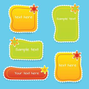 Vector set with colored floral frames for text - vector gratuit #128330