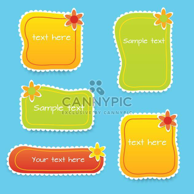 Vector set with colored floral frames for text - Free vector #128330