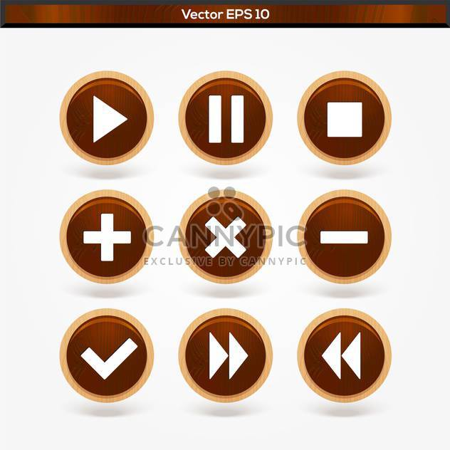 Set with round wooden media player vector buttons - Free vector #128350