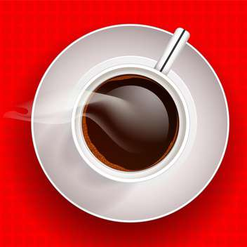 Cup of hot coffee on red background - vector gratuit(e) #128360