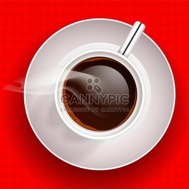 Cup of hot coffee on red background - Free vector #128360
