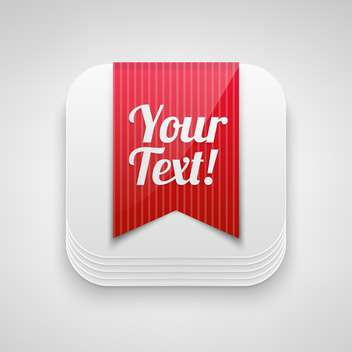 white vector button with red ribbon and space for text, isolated on white background - vector #128370 gratis