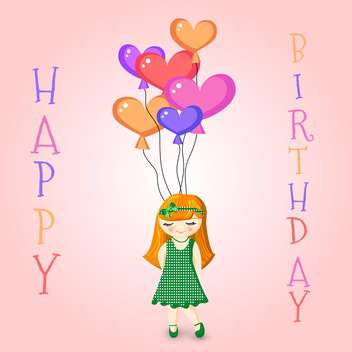 Vector illustration of a Girl Holding Birthday Balloons - бесплатный vector #128650