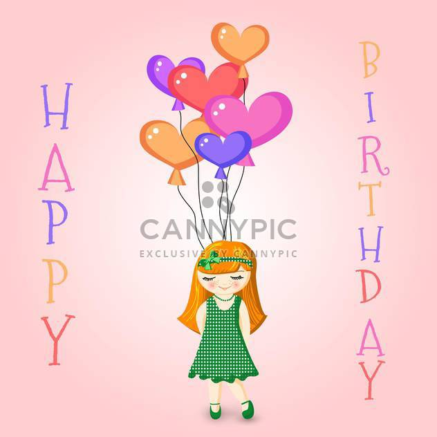 Vector illustration of a Girl Holding Birthday Balloons - Free vector #128650