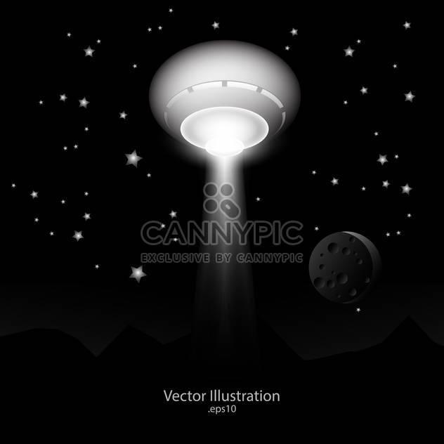 Vektor-Illustration von ufo mit Lichtstrahl im Raum. - Kostenloses vector #128740