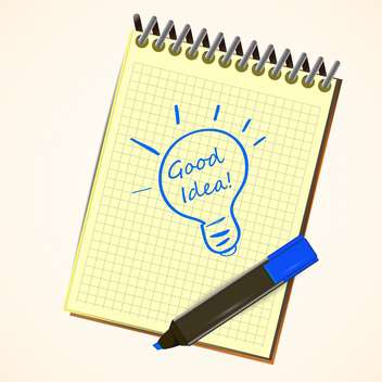 Vector notebook with marker pen drawing an idea symbol light bulb on a page of ruled notebook paper - Free vector #128760