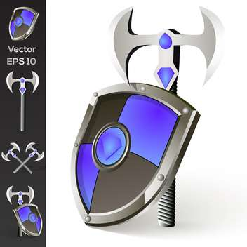 Vector illustration of axe and shield collection - бесплатный vector #128770