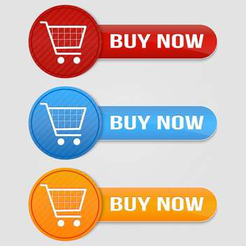 Vector set of buy buttons with shopping cart - vector gratuit #128780