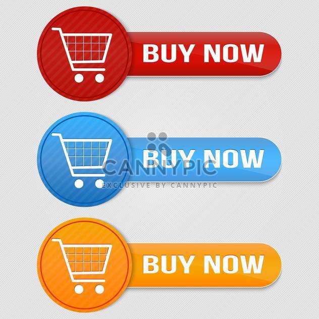 Vektor-Satz kaufen Buttons mit Warenkorb - Kostenloses vector #128780
