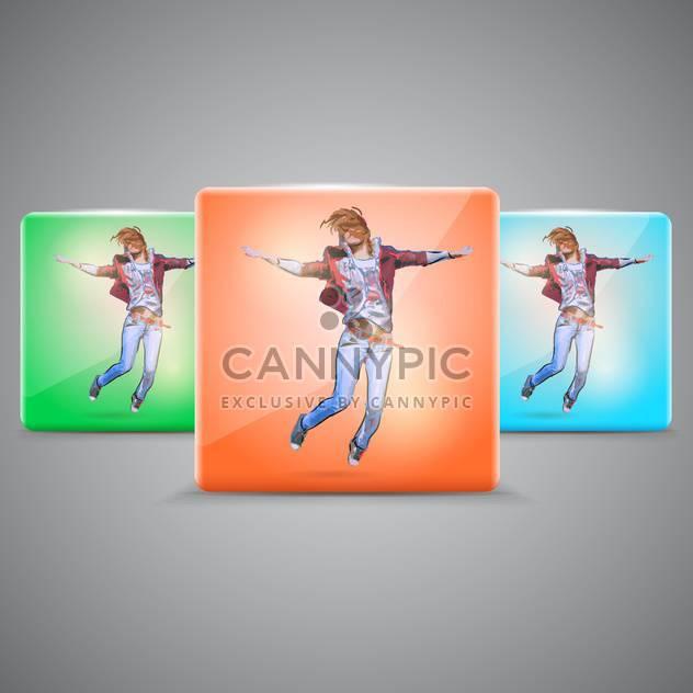 Vektor-set mit glücklichen springenden Mädchen - Free vector #128810