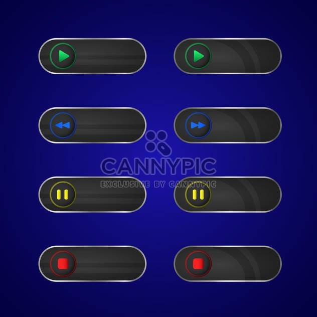 Vector set of media player buttons - Free vector #128830