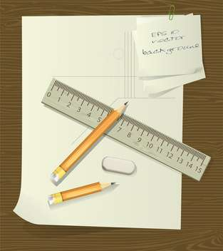 ruler and pencils over paper with eraser - vector gratuit #129060