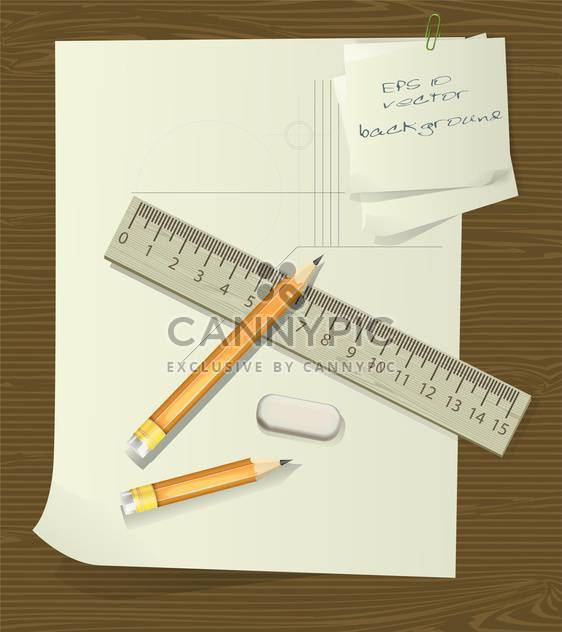ruler and pencils over paper with eraser - Free vector #129060