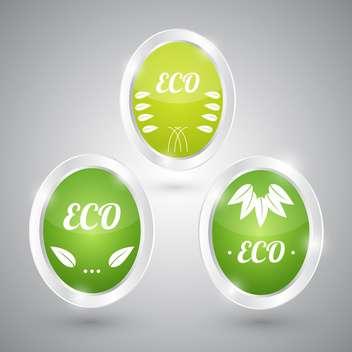 set of green eco natural signs - vector gratuit #129110