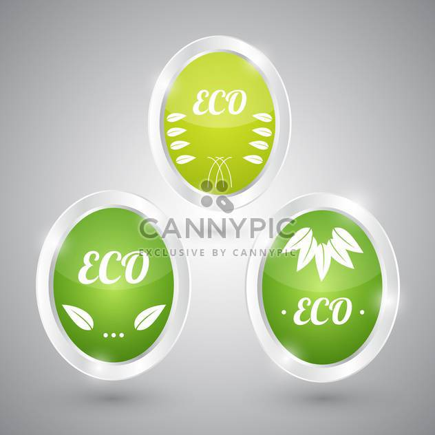 set of green eco natural signs - Free vector #129110