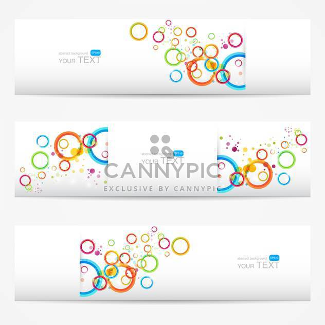 Abstract vector white cards with colorful circles - Free vector #129290