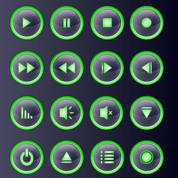 Vector set of green media player buttons collection - бесплатный vector #129340