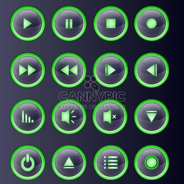Vektor grün Mediensammlung Spieler Schaltflächen festlegen - Kostenloses vector #129340